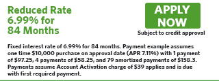 1181 - Reduced Rate 6.99% for 84 Months